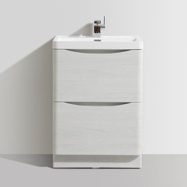 Vellamo Maya 600mm White Ash Floorstanding Vanity Unit & Basin