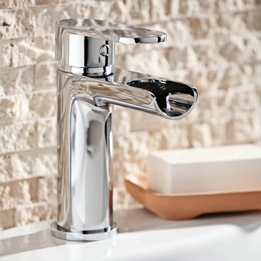 Mayfair Zoe Waterfall Basin Mixer Tap with Clicker Waste