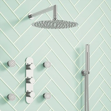 Drench Megan Concealed Thermostatic Shower Valve, Fixed Shower Head, Handset & Body Jets