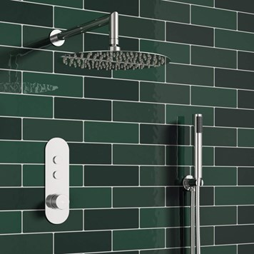 Melville Concealed Thermostatic Push Button Shower Valve, Fixed Head & Shower Handset Kit