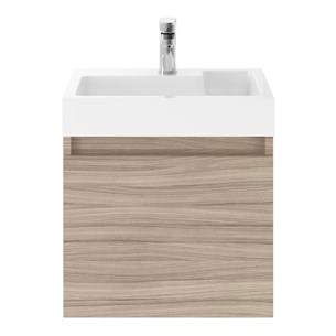 Drench Minnie 500mm Wall Mounted 1 Door Vanity Unit & Polymarble Basin - Driftwood