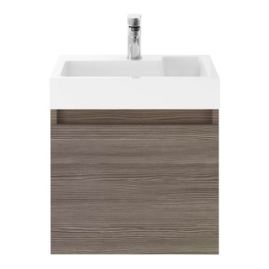 Drench Minnie 500mm Wall Mounted 1 Door Vanity Unit & Polymarble Basin - Grey Avola