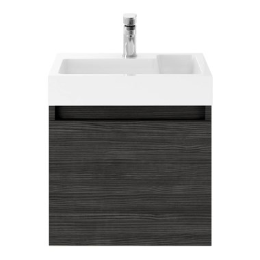 Drench Minnie 500mm Wall Mounted 1 Door Vanity Unit & Polymarble Basin - Hacienda Black