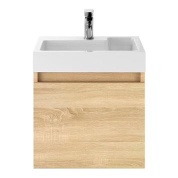 Drench Minnie 500mm Wall Mounted 1 Door Vanity Unit & Polymarble Basin - Natural Oak