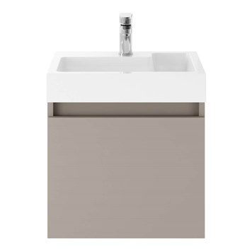 Drench Minnie 500mm Wall Mounted 1 Door Vanity Unit & Polymarble Basin - Stone Grey