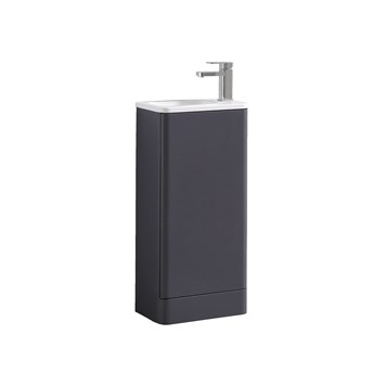 Harbour Glow 400mm Floorstanding Cloakroom Vanity Unit & Basin - Cool Matt Grey