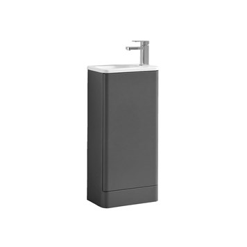 Harbour Glow 400mm Floorstanding Cloakroom Vanity Unit & Basin - Warm Matt Grey