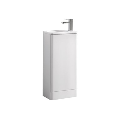 Harbour Glow 400mm Floorstanding Cloakroom Vanity Unit & Basin - Matt White