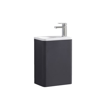 Harbour Glow 400mm Wall Hung Cloakroom Vanity Unit & Basin - Cool Matt Grey