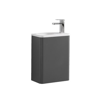 Harbour Glow 400mm Wall Hung Cloakroom Vanity Unit & Basin - Warm Matt Grey