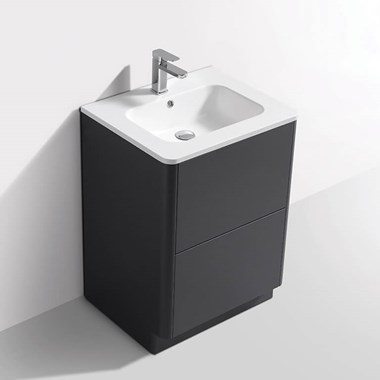 Harbour Glow 600mm Floorstanding Vanity Unit & Basin with LED Lighting - Cool Matt Grey