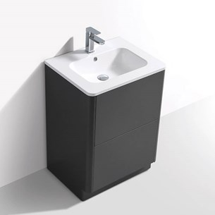 Harbour Glow 600mm Floorstanding Vanity Unit & Basin with LED Lighting - Warm Matt Grey