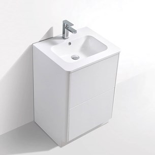 Harbour Glow 600mm Floorstanding Vanity Unit & Basin with LED Lighting - Matt White