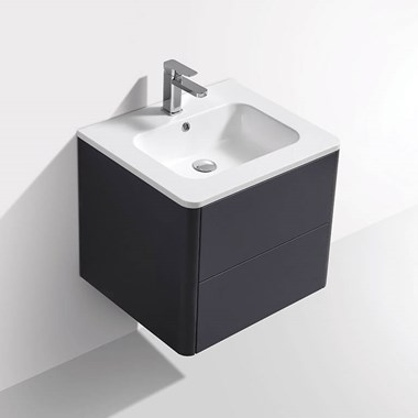 Harbour Glow 600mm Wall Hung Vanity Unit & Basin with LED Lighting - Cool Matt Grey