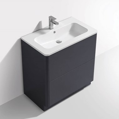 Harbour Glow 800mm Floorstanding Vanity Unit & Basin with LED Lighting - Cool Matt Grey