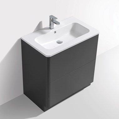Harbour Glow 800mm Floorstanding Vanity Unit & Basin with LED Lighting - Warm Matt Grey