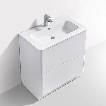 Harbour Glow 800mm Floorstanding Vanity Unit & Basin with LED Lighting - Matt White