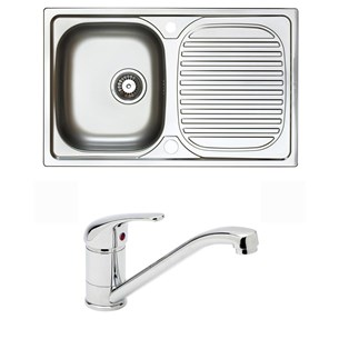 Astracast Aegean1 Bowl Stainless Steel Compact Sink & Vellamo Echo Kitchen Sink Mixer Tap