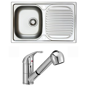 Astracast Aegean 1 Bowl Stainless Steel Compact Sink & Vellamo Echo Pull Out Spray Kitchen Mixer Tap