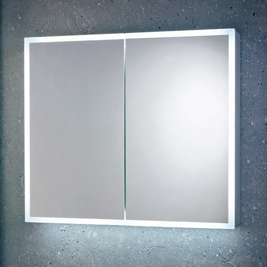 Harbour Glow Led Mirrored Cabinet With Demister Pad Shaver Socket 800 X 700mm Tap Warehouse