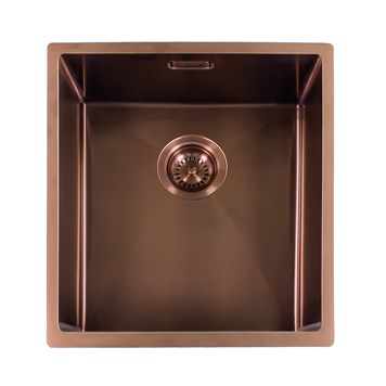 Reginox Miami Single Bowl Inset/Undermount Stainless Steel Kitchen Sink - Copper - 440 x 440mm