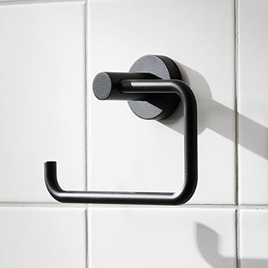 Miller Bond Matt Black Open Toilet Roll Holder