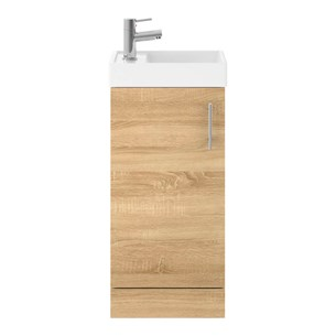 Drench Minnie 400mm Floorstanding Cloakroom Vanity Unit & Basin - Natural Oak