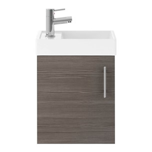 Drench Minnie 400mm Wall Mounted Cloakroom Vanity Unit & Basin - Grey Avola