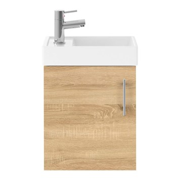 Drench Minnie 400mm Wall Mounted Cloakroom Vanity Unit & Basin - Natural Oak