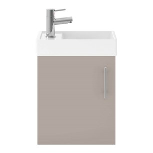 Drench Minnie 400mm Wall Mounted Cloakroom Vanity Unit & Basin - Stone Grey