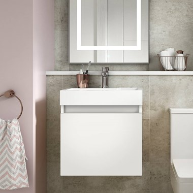 Drench Minnie 500mm Wall Mounted 1 Door Vanity Unit & Polymarble Basin - Gloss White