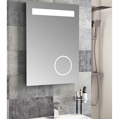 Vellamo LED Illuminated Bathroom Magnifying Mirror with Demister Pad & Shaver Socket - 700mm x 500mm