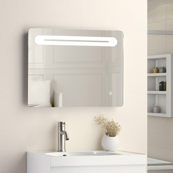 Vellamo LED Illuminated Bathroom Mirror with Demister Pad & Shaving Socket - 500mm x 650mm