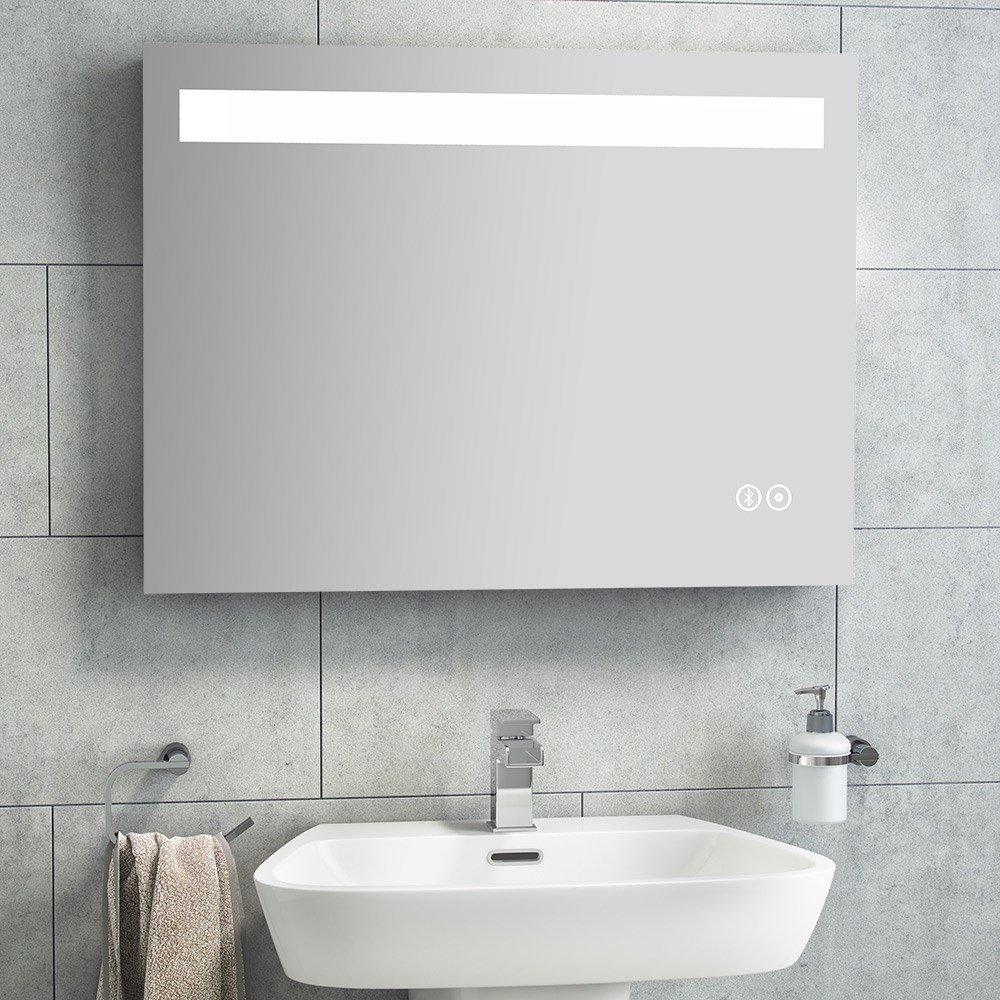 bathroom mirrors with lights in them. Vellamo LED Mirror With Touch Sensor, Demister \u0026 Bluetooth - 1200 X 600mm Bathroom Mirrors Lights In Them