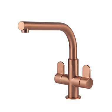 Clearwater Miram Twin Lever Mono Kitchen Mixer - Brushed Copper