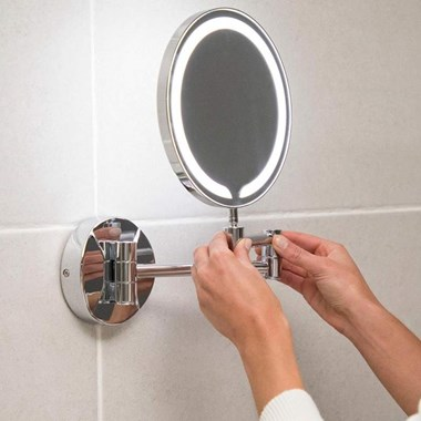 Vellamo LED Illuminated Round Magnifying Wall Mirror
