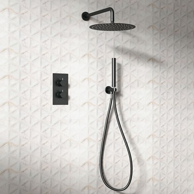 Vellamo Matt Black Twist Shower Package with 2 Outlet Valve, Fixed Head & Arm and Wall Shower Kit