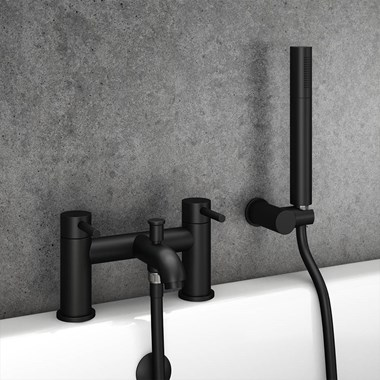 Vellamo Twist Matt Black Bath Shower Mixer Tap & Shower Kit