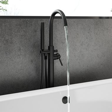 Vellamo Twist Matt Black Floorstanding Bath Shower Mixer & Shower Kit