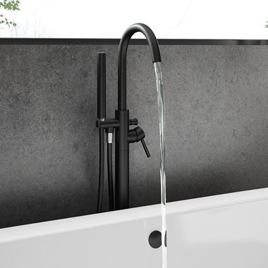 Vellamo Twist Matt Black Floorstanding Bath Shower Mixer, Shower Kit & Easy Plumb Installation Kit