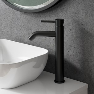 Vellamo Twist Matt Black Tall Basin Mixer Tap with Waste