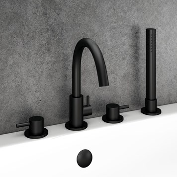 Vellamo Twist Matt Black 4 Hole Bath Shower Mixer Tap & Shower Kit