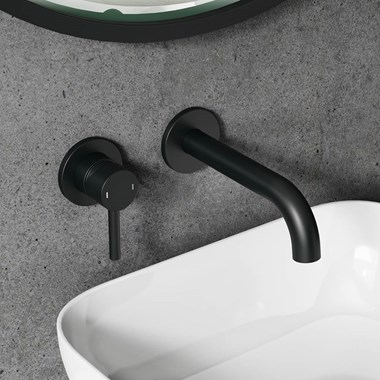 Vellamo Twist Matt Black Wall Mounted Basin Tap with Easy Plumb Installation Kit
