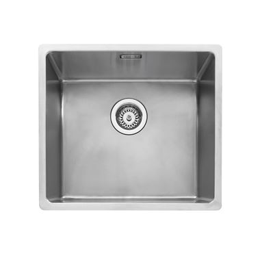 Caple Mode 1 Bowl Inset or Undermount Brushed Stainless Steel Sink & Waste Kit - 490 x 440mm