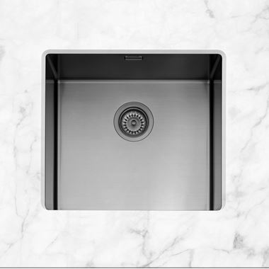 Caple Mode 1 Bowl Inset or Undermount Gunmetal Brushed Stainless Steel Sink & Waste Kit - 490 x 440mm