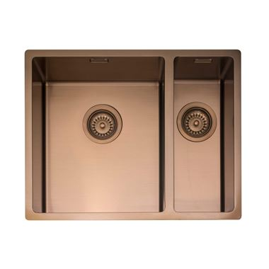 Caple Mode 1.5 Bowl Inset or Undermount Copper Stainless Steel Sink & Waste Kit with Right Hand Small Bowl - 555 x 440mm