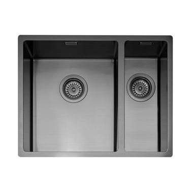 Caple Mode 1.5 Bowl Inset or Undermount Gunmetal Stainless Steel Sink & Waste Kit with Right Hand Small Bowl - 555 x 440mm