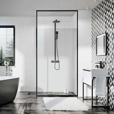 Vellamo Matt Black Framed Adjustable Height 8mm Easy Clean Wetroom Panel