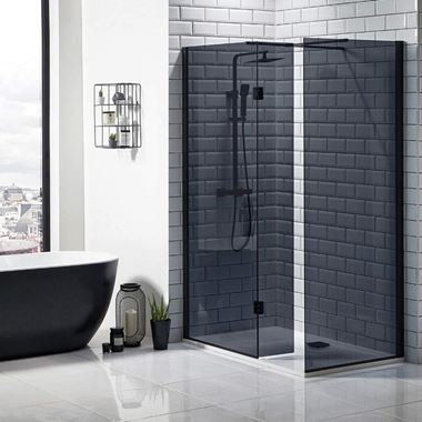 Harbour Status Matt Black 8mm Black Glass Walk In Shower Panel - 700mm