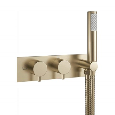 Crosswater MPRO 2 Outlet Concealed Thermostatic Bath Shower Valve - Brushed Brass